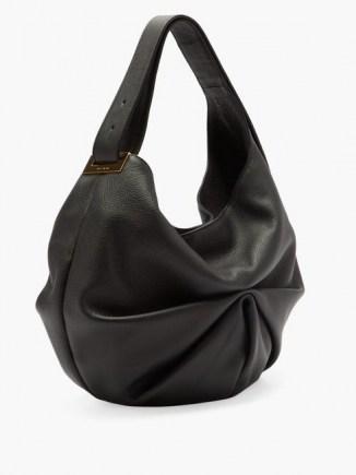 TSATSAS Sacar ruched slouchy-leather shoulder bag ~ black pleated handbag