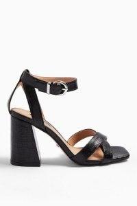 TOPSHOP SACHA Black Ankle Tie Block Heel Sandals / croc effect chunky high heels