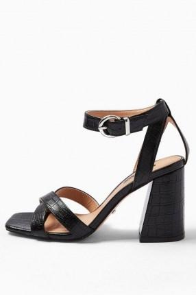 TOPSHOP SACHA Black Ankle Tie Block Heel Sandals / croc effect chunky high heels - flipped