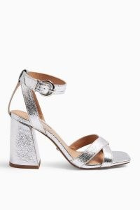 TOPSHOP SACHA Silver Ankle Tie Block Heel Sandals / metallic ankle strap shoes