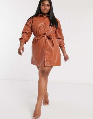Saint Genies Plus oversized belted pu shirt dress in tan ~ plus size fashion