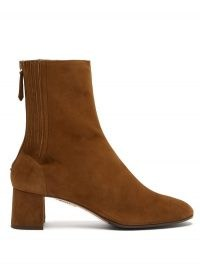 AQUAZZURA Saint Honoré suede ankle boots ~ brown block heel boots