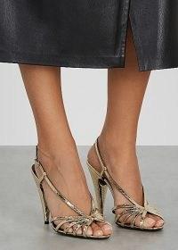 SAINT LAURENT Romy 95 gold ayers sandals ~ strappy metallic open toe high heels