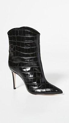 Schutz Kerolym Booties / black croc effect leather boots - flipped