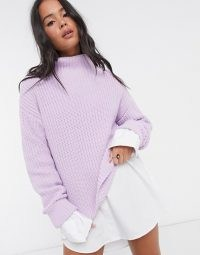 Selected Femme cable jumper with high neck in purple   high neck drop shoulder jumpers