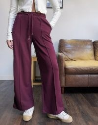 Selected Femme cropped sweat joggers co-ord in purple ~ straight front seamed joggers