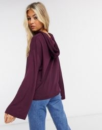 Selected Femme hoodie with wide sleeved co ord in purple ~ pullover hoodies