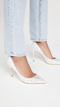 Sergio Rossi Godiva Bridal Crepe Satin + Strass Pumps / white crystal covered court shoes