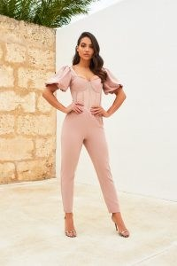 LAVISH ALICE sheer corset puff sleeve jumpsuit in mink – fitted jumpsuits