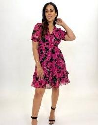 FOREVER UNIQUE Sheer Poppy Print Mini Dress / floral tiered hem dresses