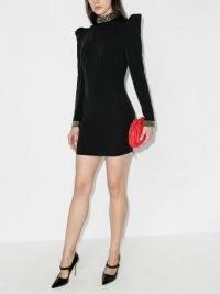 De La Vali Baltimore cutout cocktail dress | LBD | puff sleeve party dresses | cut out back evening wear | structured shoulders