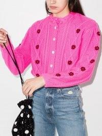 Shrimps mccoy knit cardigan | bright pink floral cardigans | designer knitwear