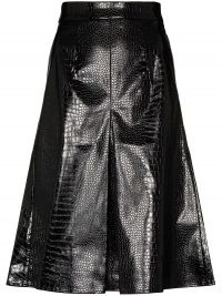 SHUSHU/TONG croc effect midi skirt ~ inverted front pleat skirts ~ crocodile embossed clothing