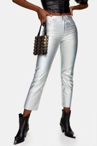 Topshop Silver Iridescent Straight Jeans | metallic denim | cropped hems