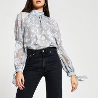RIVER ISLAND Silver long sleeve tie neck blouse / romantic style floral blouses