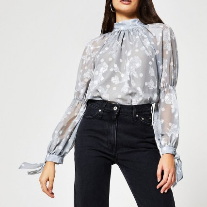 RIVER ISLAND Silver long sleeve tie neck blouse / romantic style floral blouses - flipped