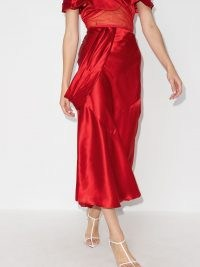 Simone Rocha asymmetric silk midi skirt ~ red fluid skirts