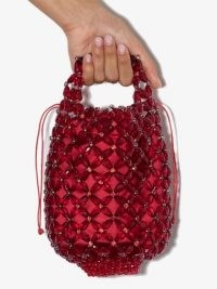 Simone Rocha red beaded mini tote bag ~ small bead embellished drawstring bags
