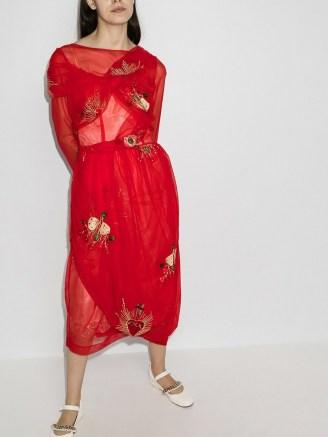 Simone Rocha 50th asymmetric wrap tulle dress in red - flipped