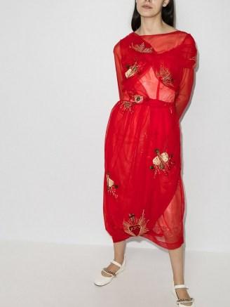 Simone Rocha 50th asymmetric wrap tulle dress in red