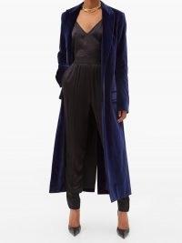 HAIDER ACKERMANN Single-breasted cotton-blend velvet coat – blue luxury statement coats