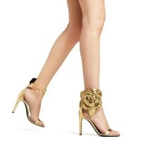 GIUSEPPE ZANOTTI Siuxsie high heel sandals | gold floral embellished heels | glamorous party footwear