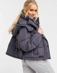 Sixth June cropped oversized puffer jacket in grey | padded winter jackets | stylish outerwear