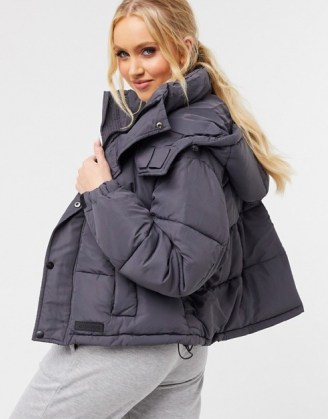 Sixth June cropped oversized puffer jacket in grey   padded winter jackets   stylish outerwear - flipped