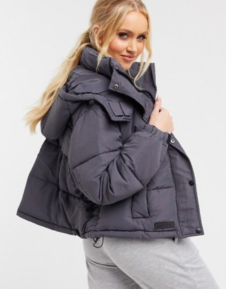 Sixth June cropped oversized puffer jacket in grey   padded winter jackets   stylish outerwear