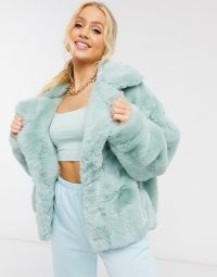Sixth June oversized jacket in faux fur with logo in mint | fluffy green logo back jackets