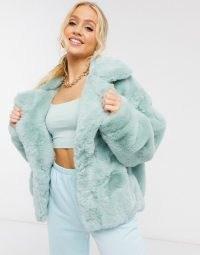 Sixth June oversized jacket in faux fur with logo in mint | fluffy green logo back jackets