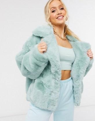 Sixth June oversized jacket in faux fur with logo in mint   fluffy green logo back jackets - flipped
