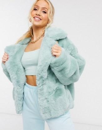 Sixth June oversized jacket in faux fur with logo in mint   fluffy green logo back jackets
