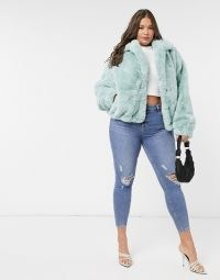 Sixth June Plus oversized jacket in faux fur with logo mint / green fluffy winter jackets / plus size outerwear