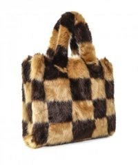 STAND Lolita Checked Faux Fur Bag ~ fluffy brown check bags ~ winter accessories