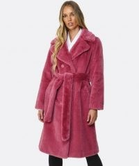 STAND Faustine Faux Fur Coat ~ pink belted winter coats