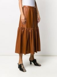 STAUD leather-effect midi skirt in whiskey brown