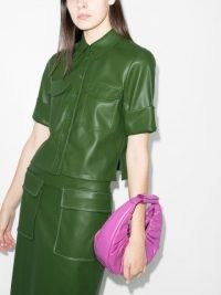 STAUD Rue boxy-fit shirt ~ green faux leather shirts