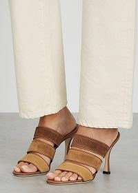 STAUD Sonny 100 brown suede sandals / triple strap mules