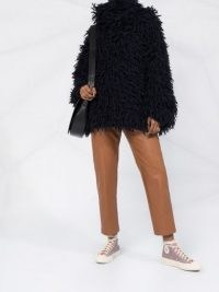 Stella McCartney loop-stitch oversized jumper ~ shaggy high neck jumpers ~ chunky knitwear