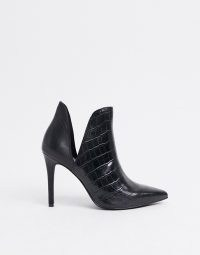 Steve Madden Analese cut out heeled ankle boot in black croc