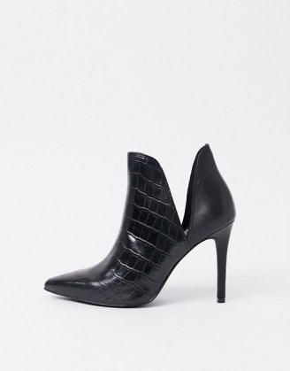 Steve Madden Analese cut out heeled ankle boot in black croc - flipped