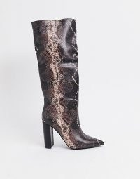 Steve Madden Tamsin heeled knee high boot in snake mocha multi