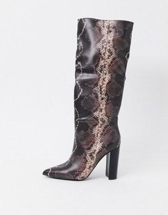 Steve Madden Tamsin heeled knee high boot in snake mocha multi - flipped