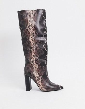 Steve Madden Tamsin heeled knee high boot in snake mocha multi