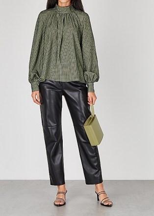 STINE GOYA Eddy checked blouse ~ high neck volume sleeve blouses ~ check prints - flipped
