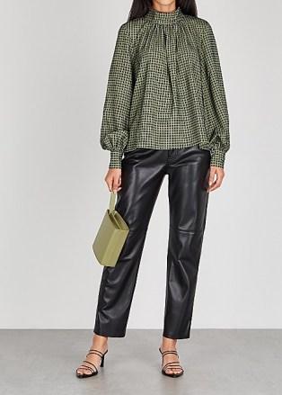 STINE GOYA Eddy checked blouse ~ high neck volume sleeve blouses ~ check prints