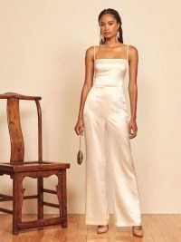 REFORMATION Stormy Jumpsuit Ivory ~ silk spaghetti strap jumpsuits ~ luxe evening wear