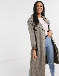 Stradivarius long trench coat in brown checks | checked autumn / winter coats