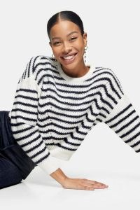 Topshop Stripe Wave Knitted Jumper | striped drop shoulder jumpers